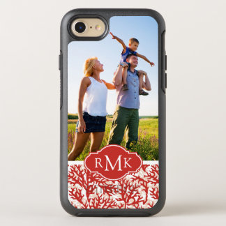Red Coral Pattern   Your Photo & Monogram OtterBox Symmetry iPhone 8/7 Case