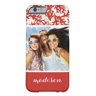 Red Coral Pattern | Your Photo & Name Barely There iPhone 6 Case
