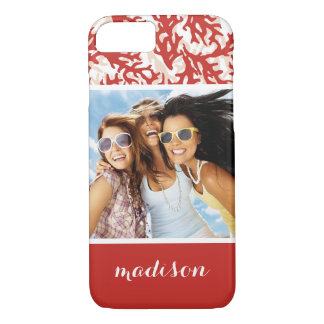 Red Coral Pattern | Your Photo & Name iPhone 8/7 Case