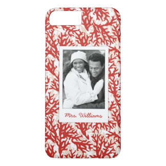 Red Coral Pattern | Your Photo & Name iPhone 8 Plus/7 Plus Case