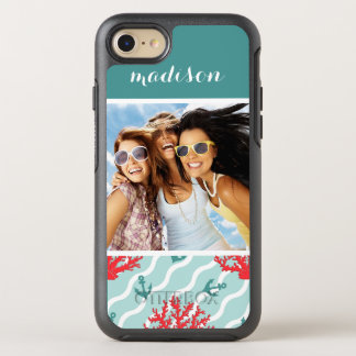 Red Coral Pattern | Your Photo & Name OtterBox Symmetry iPhone 8/7 Case