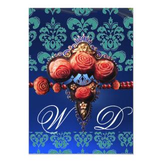 RED CORAL ROSES,AQUA BLUE BLACK DAMASK MONOGRAM 13 CM X 18 CM INVITATION CARD