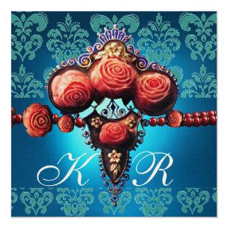 RED CORAL ROSES,AQUA BLUE BLACK DAMASK MONOGRAM 5.25X5.25 SQUARE PAPER INVITATION CARD