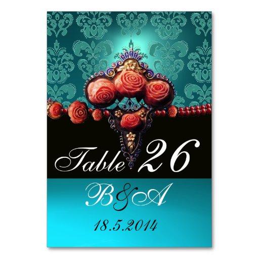 RED CORAL ROSES,AQUA BLUE BLACK DAMASK MONOGRAM TABLE CARDS