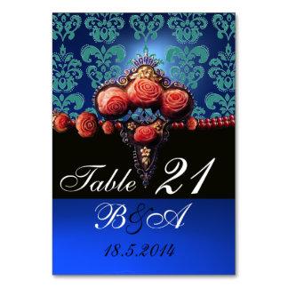 RED CORAL ROSES AQUA BLUE BLACK DAMASK MONOGRAM TABLE CARD