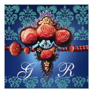 RED CORAL ROSES,AQUA BLUE GOLD DAMASK MONOGRAM 13 CM X 13 CM SQUARE INVITATION CARD