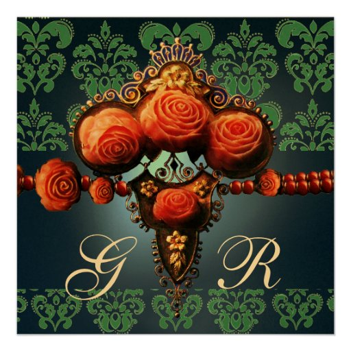 RED CORAL ROSES,AQUA BLUE GOLD DAMASK MONOGRAM PERSONALIZED INVITATIONS