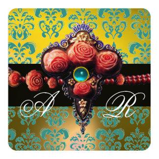 RED CORAL ROSES,AQUA BLUE YELLOW DAMASK MONOGRAM 13 CM X 13 CM SQUARE INVITATION CARD