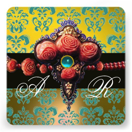 RED CORAL ROSES,AQUA BLUE YELLOW DAMASK MONOGRAM ANNOUNCEMENTS