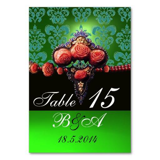 RED CORAL ROSES,BLACK BLUE GREEN DAMASK MONOGRAM TABLE CARD
