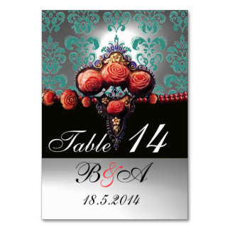 RED CORAL ROSES BLACK BLUE WHITE DAMASK MONOGRAM TABLE CARDS