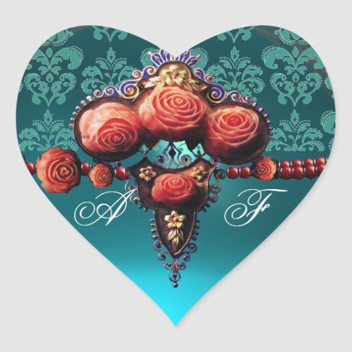 RED CORAL ROSES, BLUE BLACK DAMASK HEART MONOGRAM STICKERS
