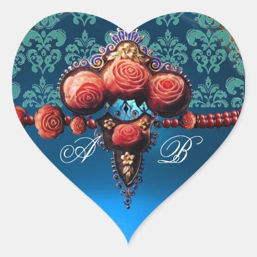 RED CORAL ROSES, BLUE BLACK DAMASK HEART MONOGRAM HEART STICKER