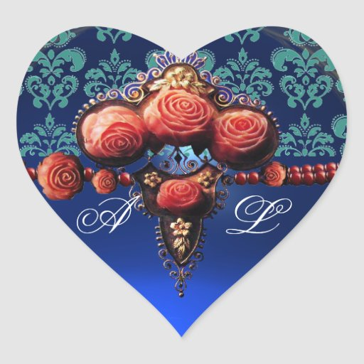 RED CORAL ROSES, BLUE BLACK DAMASK HEART MONOGRAM HEART STICKERS
