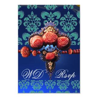 RED CORAL ROSES,BLUE BLACK DAMASK MONOGRAM RSVP 9 CM X 13 CM INVITATION CARD