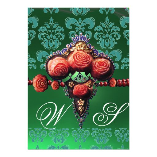RED CORAL ROSES, BLUE BLACK GREEN DAMASK MONOGRAM CUSTOM ANNOUNCEMENTS