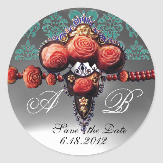 RED CORAL ROSES, BLUE BLACK WHITE DAMASK MONOGRAM ROUND STICKER