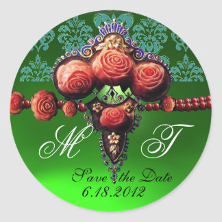 RED CORAL ROSES,BLUE EMERALD GREEN DAMASK MONOGRAM ROUND STICKER