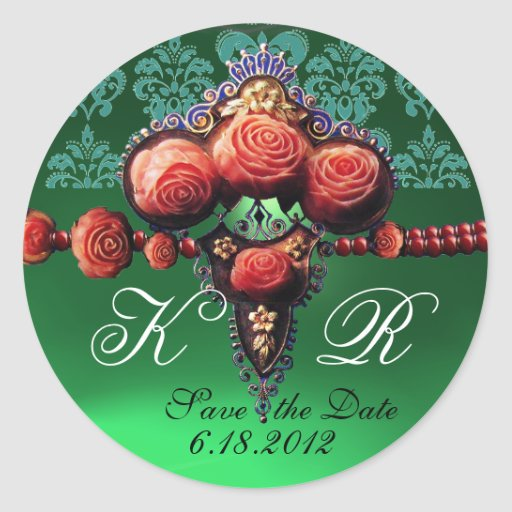 RED CORAL ROSES,BLUE EMERALD GREEN DAMASK MONOGRAM STICKERS