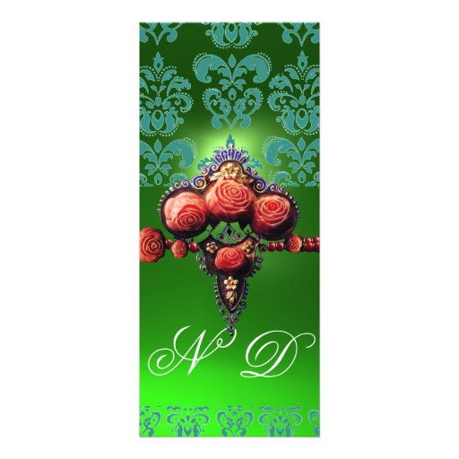 RED CORAL ROSES,BLUE GREEN BLACK DAMASK MONOGRAM INVITATION