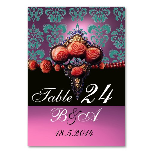 RED CORAL ROSES, BLUE PINK LILAC DAMASK MONOGRAM TABLE CARD