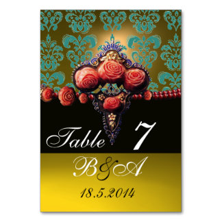 RED CORAL ROSES BLUE YELLOW BLACK DAMASK MONOGRAM TABLE CARD