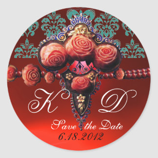 RED CORAL ROSES,RUBY DAMASK MONOGRAM ROUND STICKER
