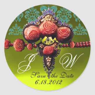 RED CORAL ROSES,YELLOW TOPAZ DAMASK MONOGRAM ROUND STICKER