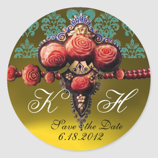 RED CORAL ROSES,YELLOW TOPAZ DAMASK MONOGRAM ROUND STICKERS