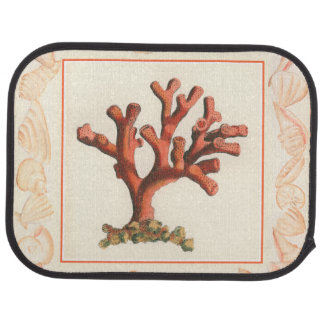 Red Coral with Conch Shell Border Car Mat