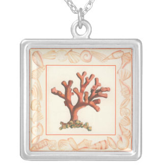 Red Coral with Conch Shell Border Silver Plated Necklace