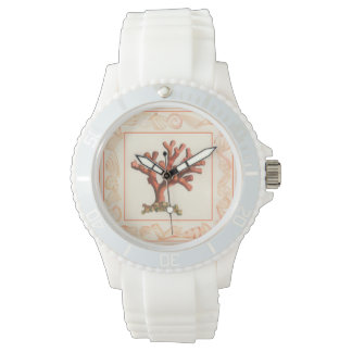Red Coral with Conch Shell Border Wristwatch