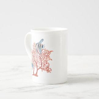 Red Coral with Tropical Fish, Angelfish Watercolor Bone China Mug