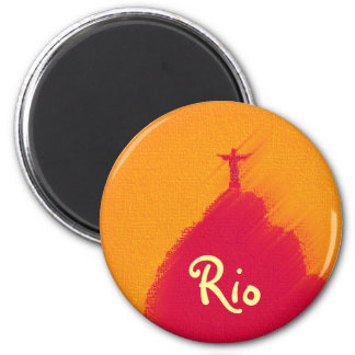 Red Corcovado Rio-Brasil 6 Cm Round Magnet