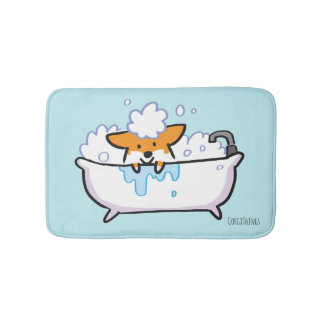 Red Corgi Bath Mat