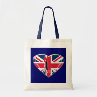Red Corkscrew Stiletto and 3D Union Jack Heart Tote Bag