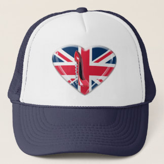 Red Corkscrew Stiletto and 3D Union Jack Heart Trucker Hat