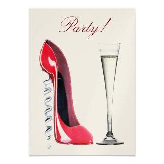 Red Corkscrew Stiletto Shoe and Champagne Flute Pa 13 Cm X 18 Cm Invitation Card