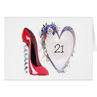 Red Corkscrew Stiletto Shoe and Floral Heart Gifts Greeting Card