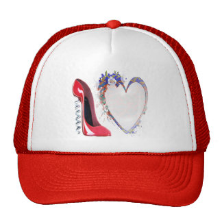 Red Corkscrew Stiletto Shoe and Floral Heart Gifts Hats
