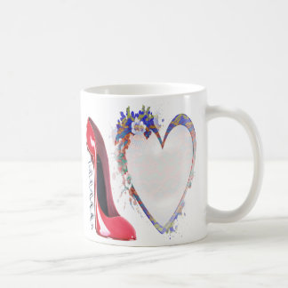 Red Corkscrew Stiletto Shoe and Floral Heart Gifts Mugs