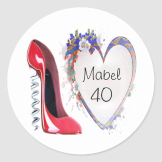 Red Corkscrew Stiletto Shoe and Floral Heart Gifts Round Sticker