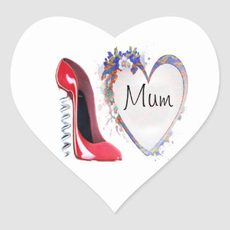 Red Corkscrew Stiletto Shoe and Floral Heart Gifts Heart Sticker