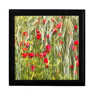Red Corn Poppies Large Square Gift Box