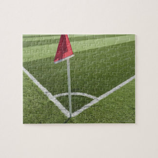 Red corner flag on soccer field jigsaw puzzle