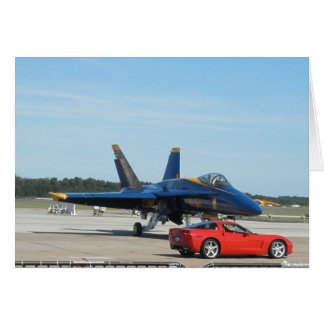 Red Corvette And Blue Angle Card