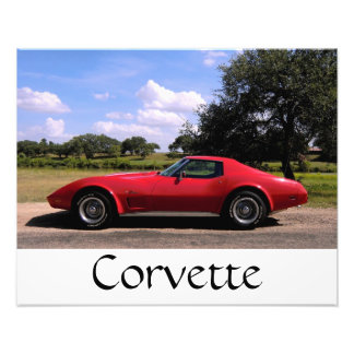 Red Corvette Print Photo Art