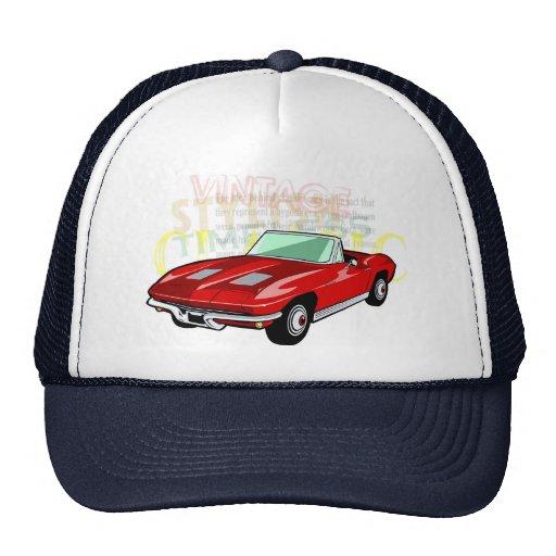 Red Corvette Stingray or Sting Ray sports car Mesh Hats