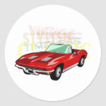 Red Corvette Stingray or Sting Ray sports car Round Sticker