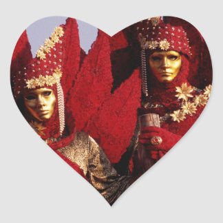 Red Costumes at the Carnival of Venice, Italy Heart Sticker